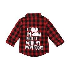 Модные красные рубашки в клетку с длинными рукавами для маленьких мальчиков и девочек возрастом от 2 до 7 лет футболки с надписью на спине, топы, одежда Новинка года