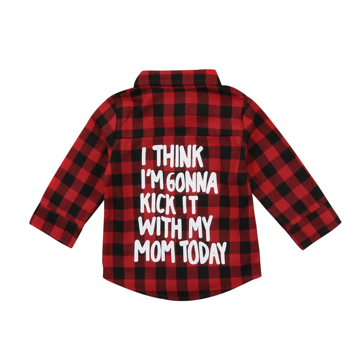 2-7years Rode Plaid Mode Peuter Kinderen Jongen Meisje Lange Mouw Shirts Terug Brief Print Tee Tops Kleding 2018 Nieuwe