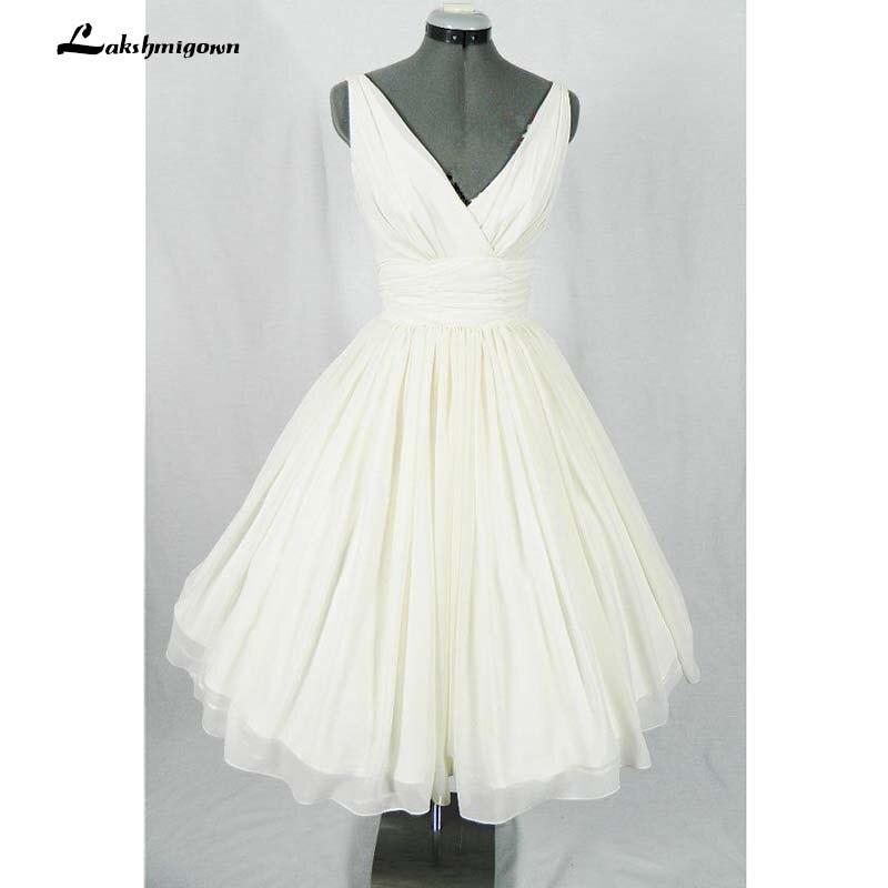 Simple Short Wedding Dress V Neck A Line Chiffon Beach