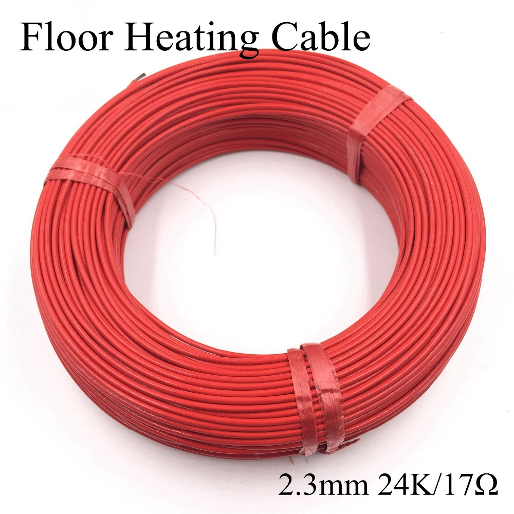 2.3mm 24K/17ohm Infrared underfloor heater electric wire Floor Teflon carbon fiber heating cable of warm hotline home system electric heater carbon fiber heater 1610w floor wall hanging warmer for home infrared heating device xh 175