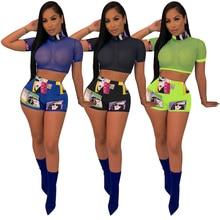 Women Girl Mesh Tops Short Sleeve Transparent T-Shirt Blouse Tee+Shorts Suit Sex