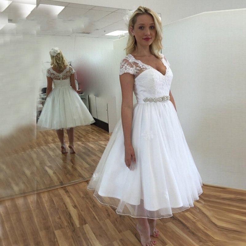 Cap Sleeve Wedding Dresses: White Short Wedding Dresses Cap Sleeve V Neck Tea Length