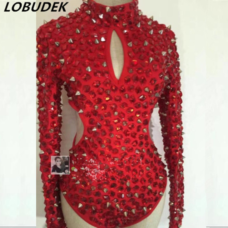 2020d1919e Aliexpress.com   Buy Red Rhinestones Rivet Bodysuit Sexy Hollow out Bling  Crystals Jumpsuit Bar Nightclub Women Singer Stage Costume Jazz Dance wear  from ...
