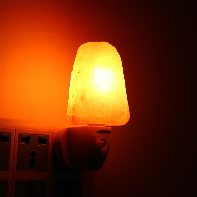 W Mini Hand Carved Natural Crystal Salt Night Lamps Himalayan - Red light bulb in bedroom