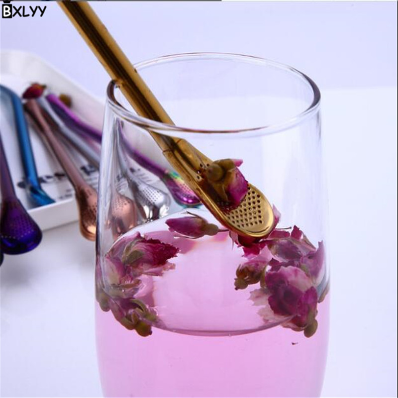 BXLYY Colorful Variety of 304 Stainless Steel Straw Spoon Cocktail Stir Bar Bar Tools Wedding Decoration Valentine 39 s Day Gift 8z in Cocktail Picks from Home amp Garden