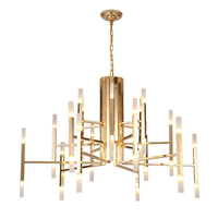 Nordic Designer chandelier New classical plated metal body clear acrylic lampshade Gold luxury foyer dinning lighting droplight