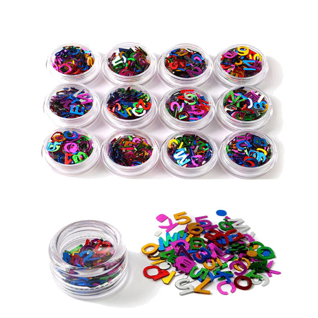 New 12 Color Nail Art Supplies Nail Stickers Letters Small ...