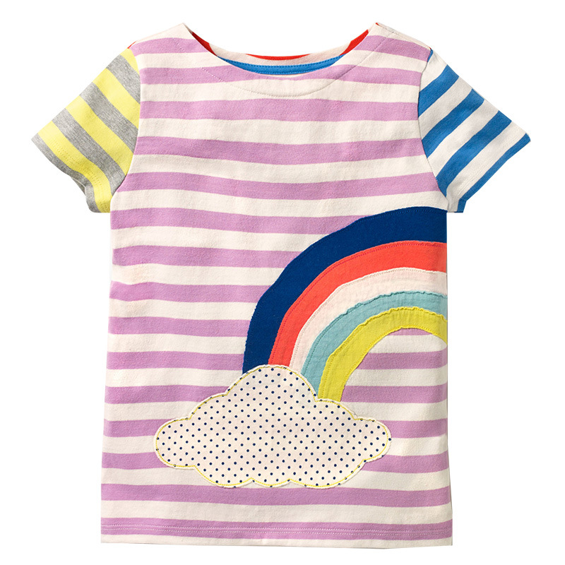 Jumping Meters Girls Summer T shirts Kids Clothes 2018 Brand Baby Girl Tshirt Children Clothing Striped T-Shirts Girls Tops Tees стоимость