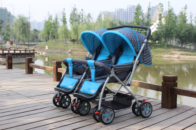 Easy Cleaning and Disinfection Material Fabrics,Stroller Size: 95*22*76CM,Oxford Cloth Awnings,Baby Double Stroller,Twins Prams