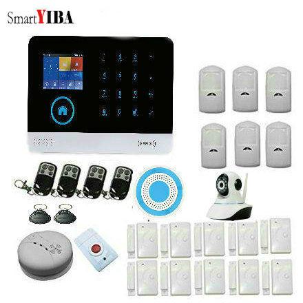 Smart YIBA WiFi GSM GPRS RFID Home Security Alarm System Housen Surveillance Security System Wireless IP Camera Smoke sensor .