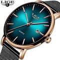 Женские кварцевые часы Reloj Mujer LIGE  ультратонкие водонепроницаемые часы из нержавеющей стали с сетчатым ремешком