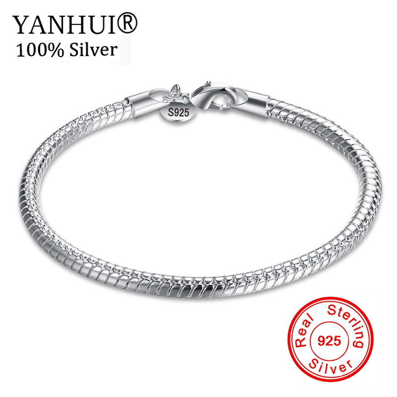 YANHUI Fine Jewelry 100% Original Pure 925 Sterling Silver Charm Bracelets For Men and Women With S925 Stamp Wedding Gift HB001 ethnic wind bracelets men and women decorations green agate 925 silver ball duobao string original jewelry