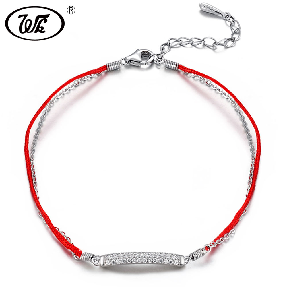 WK 925 Sterling Silver Red Rope String Bracelet For Lucky Girls Womens Crystal Bar Double Layer Line Red Thread Jewelry W4 BA032 s925 sterling silver bell lucky red rope bracelet handmade bracelets wax string amulet jewelry 1383