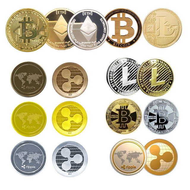 1pc Non-currency Coins Bitcoin/Ethereum/Lite/Dash/Ripple Coin kinds of Commemorative Coin Home Decor Craft without plastic cover