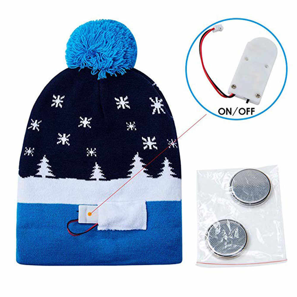 ... women men beanie hats shiny LED Light-up Knitted knitted Sweater Holiday  Xmas Christmas Beanie ... 52c6594824f5