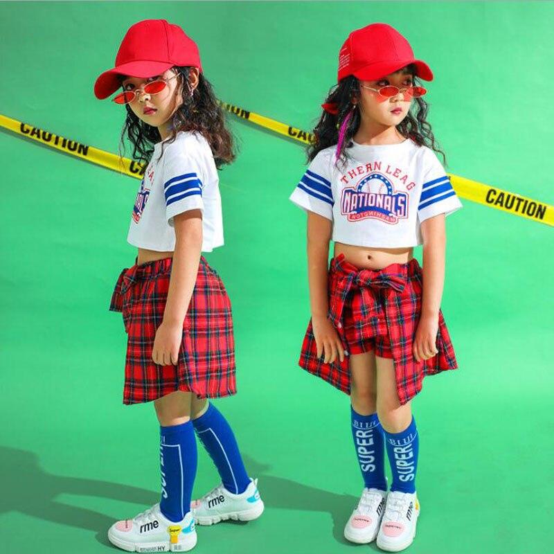 Kids Ballroom Sweatshirt Skirt Dancing Stage Wear Outfits Girls Cheerleader Modern Jazz Hip Hop Dance Wear Clothing Suit