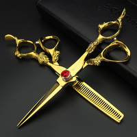 6 inch Jinlong handle hairdresser special scissors professional flat cut scissors + diluted scissors free shipping