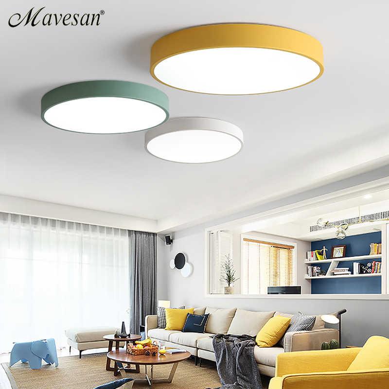 Светодиодный потолочный светильник для спальни, пульт дистанционного управления, 5 см, потолочный светильник для 8-20 квадратных метров, современный дом, осветительный прибор, Macaroon