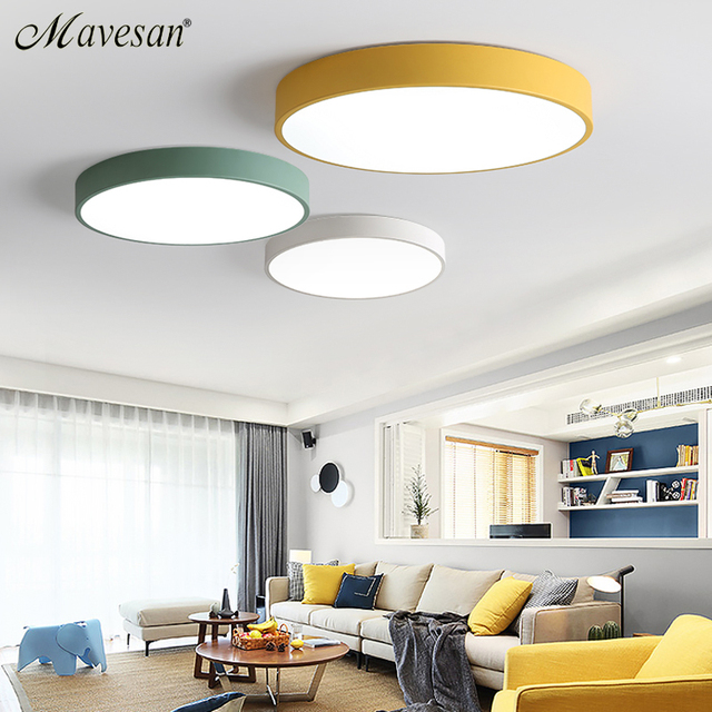 LED Ceiling Lights for Bedroom remote control lamp 5cm ceiling lamp for 8-20square meters modern house lighting fixture Macaroon