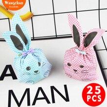 25pcs/lot Pink Blue Bunny Plastic Candy Bag Kids Gift Kawaii Rabbit Ear Happy Birthday Party Decoration Cartoon Cookie
