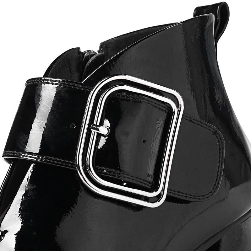 Nueva Botas Caliente Botines Grueso Boots light Hebilla Con Zapatos Más Felpa Tamaño De Gray Mujer Black Llegada Boots Tacones Interior 42 Tobillo Otoño Negro La Arxw8Ap