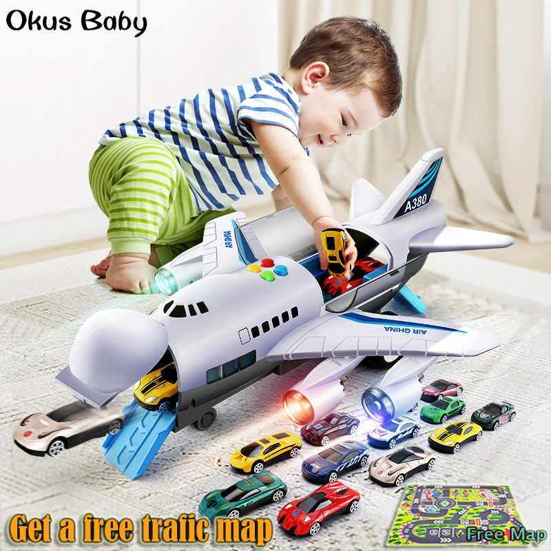 2019 Music Story Simulation Track Inertia Children's Toy Aircraft Large Size Passenger Plane Kids Airliner Toy Car Free Gift Map