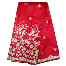 Free Shipping African George Fabric For Sewing Red African Sequin Lace Fabric DF-5