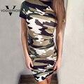 Voguephoie 2016 Summer Fashion Slim Package Hip Camo Army Green Mini Dress Short Sleeve O-Neck Ladies Dresses