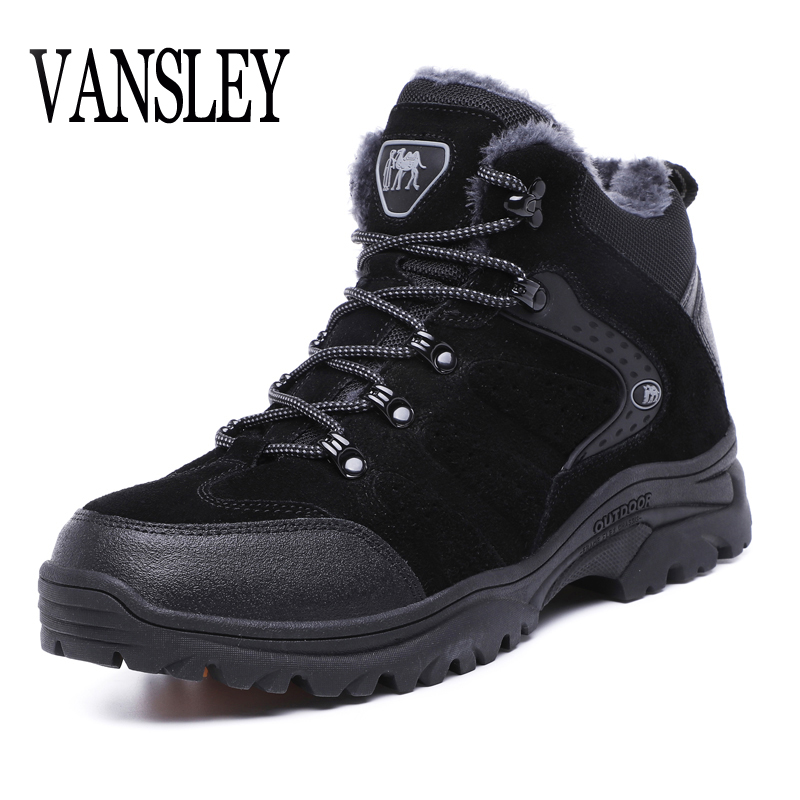 New Men Winter Boots Male Winter Snow Boots Warm Fur&plush Lace Up High Top Fashion Men Shoes Outdoor Waterproof Sneakers Boots new casual mens cheap winter shoes keep warm with fur outdoor male snow shoes plush boots fashion men s suede leather sneakers