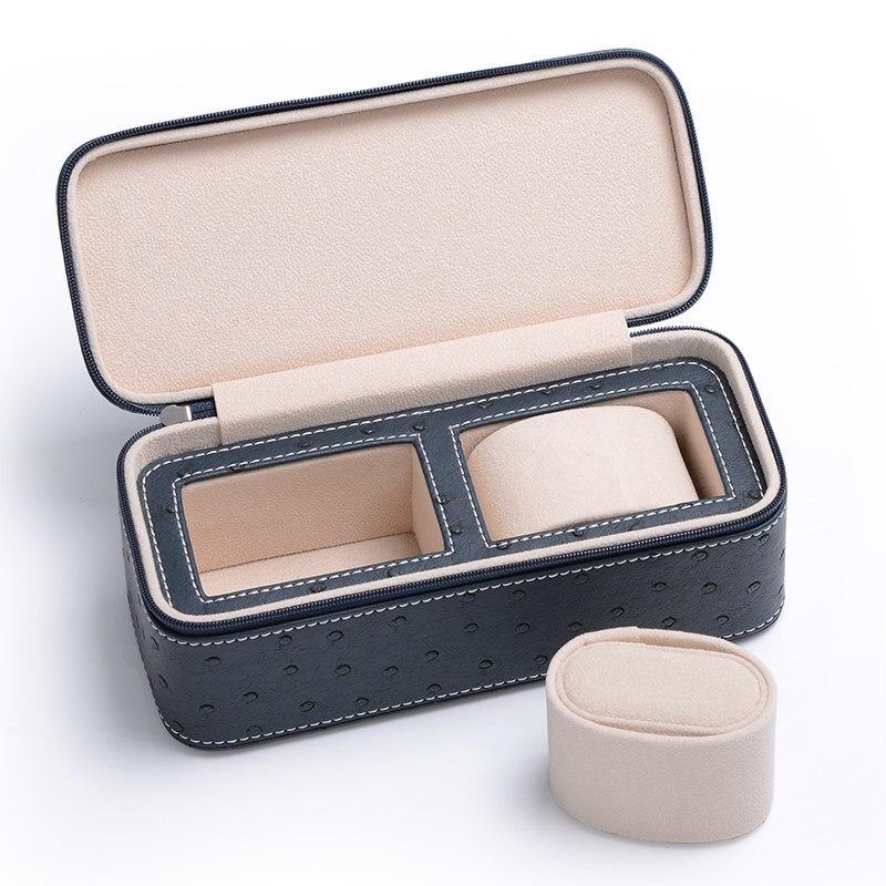 Nouveau cuir montre boîtes d'affichage boîtier autruche peau motif montre organisateur avec fermeture éclair luxe bijoux stockage cadeau boîte de voyage