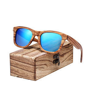 Image 2 - BARCUR Vintage Natura Zebra Wood Sunglasses Women Men Square Sun glasses Polarized Retro Sunglasses