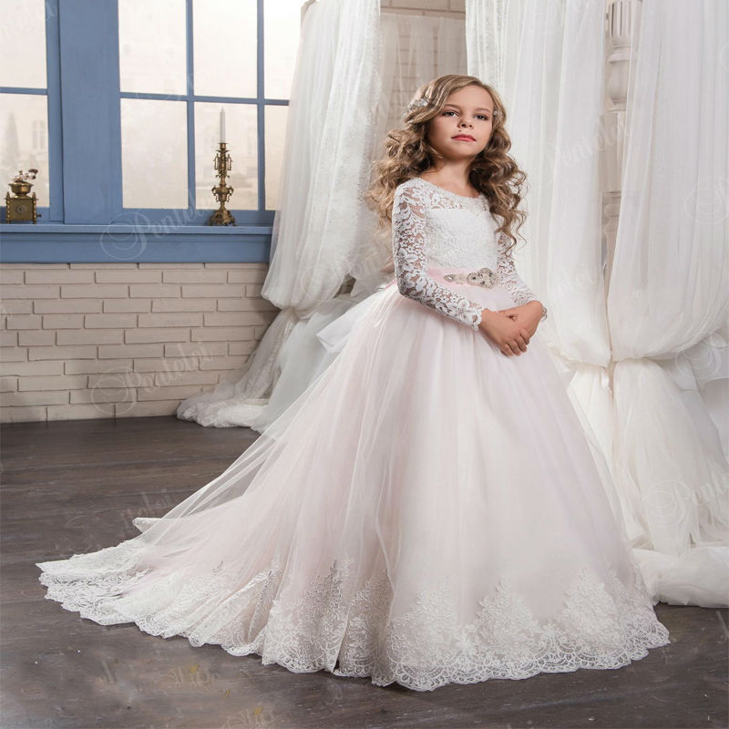 Flower Girl's Dress For Wedding Light Pink Lace Appliques Long Sleeves Bow Sash Birthday Dress With Sash Floor Length Custom vintage lace flower bowknot wedding dress with sleeves
