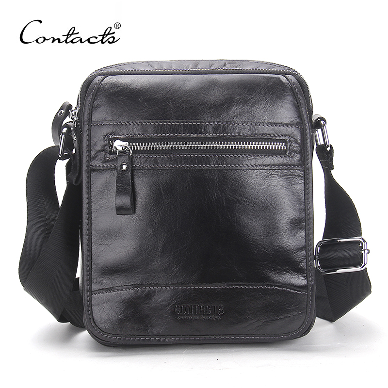 CONTACT'S New Design Male Cow leather Shoulder Bag Zipper Pocket Gentlemen Cross Body Genuine Leather Handbag Men Leather Bag ремни lee ремень gentlemen