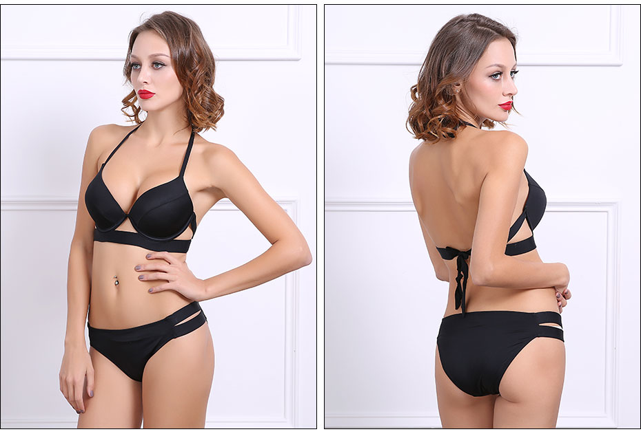 Bikinis Women Black Bandage Swimsuit