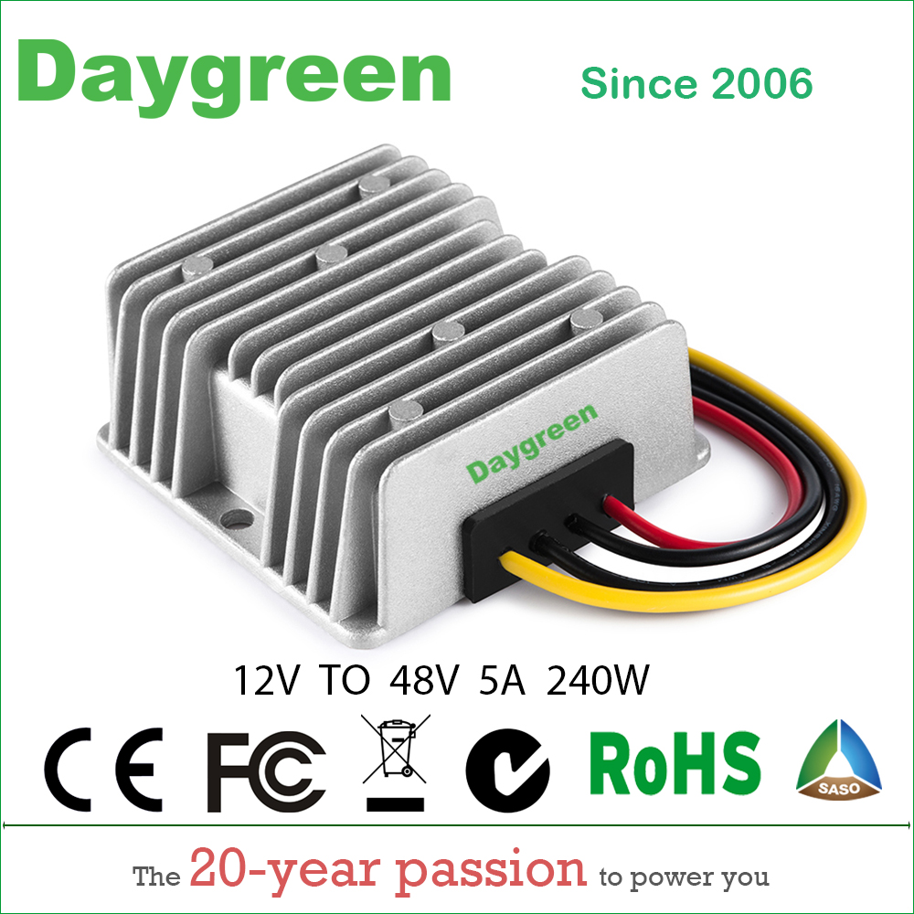 12V TO 48V 5A  STEP UP BOOST MODULE CONVERTER 12VDC TO 48VDC 5AMP FOR AUTOMOTIVES  H05-12-48 Daygreen CE RoHS Certificated12V TO 48V 5A  STEP UP BOOST MODULE CONVERTER 12VDC TO 48VDC 5AMP FOR AUTOMOTIVES  H05-12-48 Daygreen CE RoHS Certificated