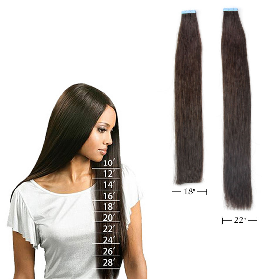 Mermaid 4# Double Drawn Tape In Human Hair 20pcs 16 18 20 Straight Remy Hair On Tape Seamless Hair Extensions Dark Brown