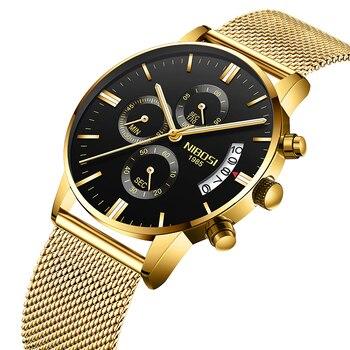Relojes Para Hombre con cronógrafo de NIBOSI reloj de cuarzo analógico deportivo de lujo resistente al agua del ejército militar Relogios Masculinos Saat