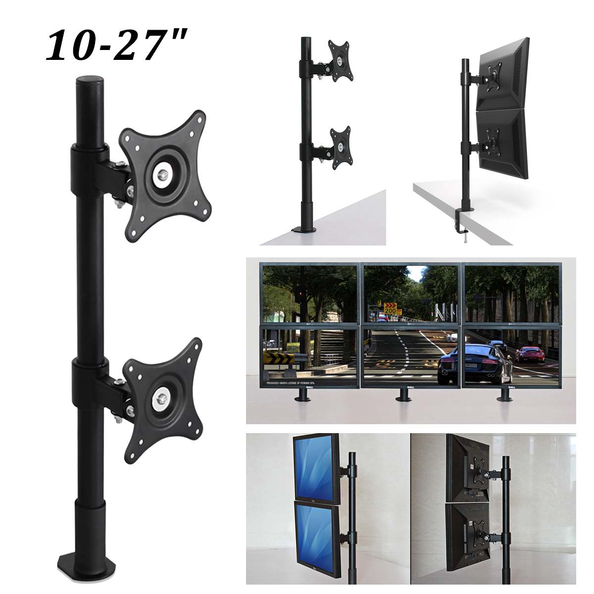 Support de moniteur simple à 360 degrés bras de montage de moniteur LED LCD 10