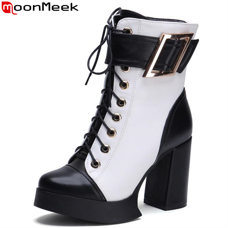 ФОТО MoonMeek two color women ankle boots lace-up buckle round toe square heels autumn spring mixed color pu platform cool boots