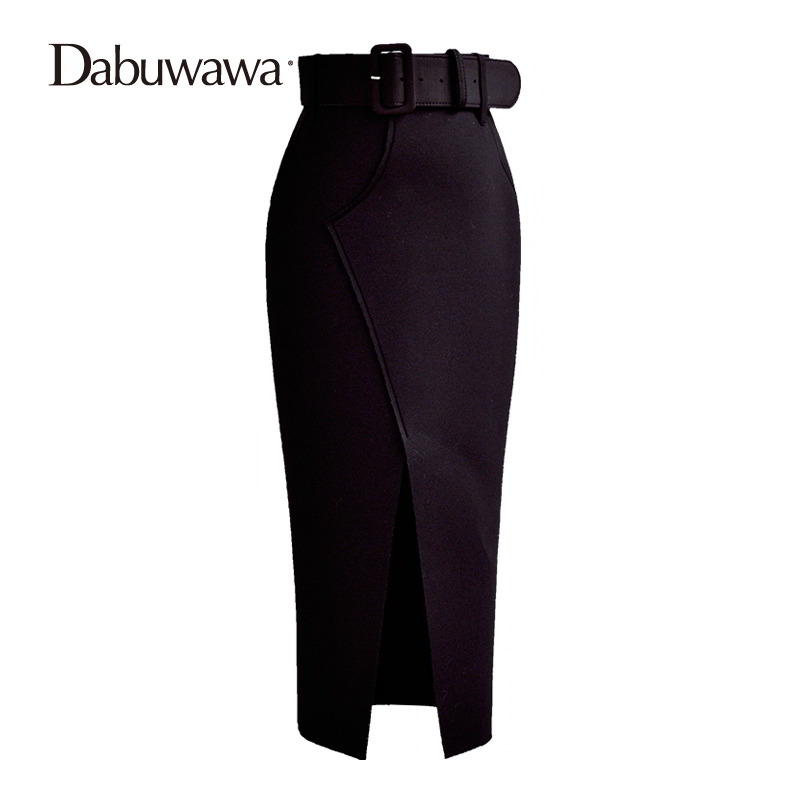 Dabuwawa Black Mid-Calf OL Pencil Skirt Women Autumn Winter Maxi Long Skirt Slit Office Skirt Faldas Mujer Saias #D16DSK011 slit back pencil skirt with strap page 9