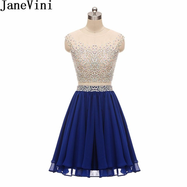 JaneVini 2018 Sparkly Beaded Sequins Bridesmaid Dresses Short 2 Pieces  Royal Blue Chiffon Lebanon Homecoming Dress Wedding Party 9fc99c5f17f2
