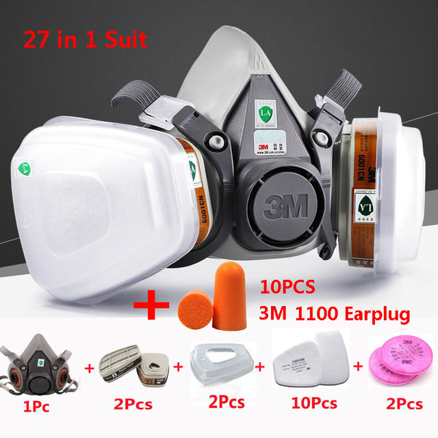 27 In 1 3M 6200 Half Face Spraying Paint Gas Mask Industry Work Safety Respirator Dust Proof Mask 3M Noise Prevention Earplug