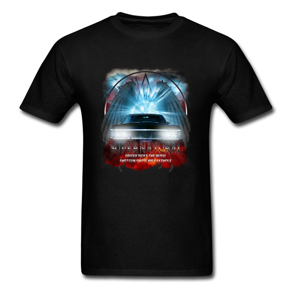 Vintage Tee Shirt Supernatural Driver Picks The Music Funny Car T Shirts For Men Speed Galloping Muscle Car Patterns T-Shirt