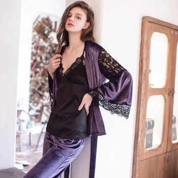 2019 New Fashion Wnter Women's Velvet Lace Pajamas Set Spaghetti Strap Blouse Long Pants Warm Home Clothes Pijamas Female Pyjama - DISCOUNT ITEM  38% OFF All Category