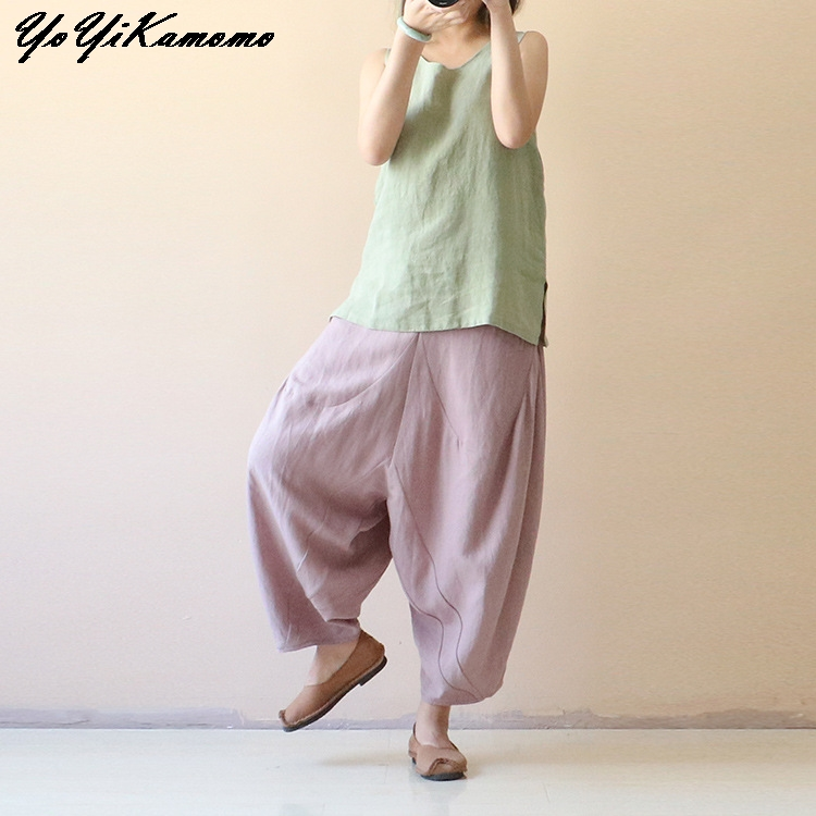 YoYiKamomo Women Pants Cotton Linen Spring Summer 2018 New Original Elastic Waist Trousers Casual Women