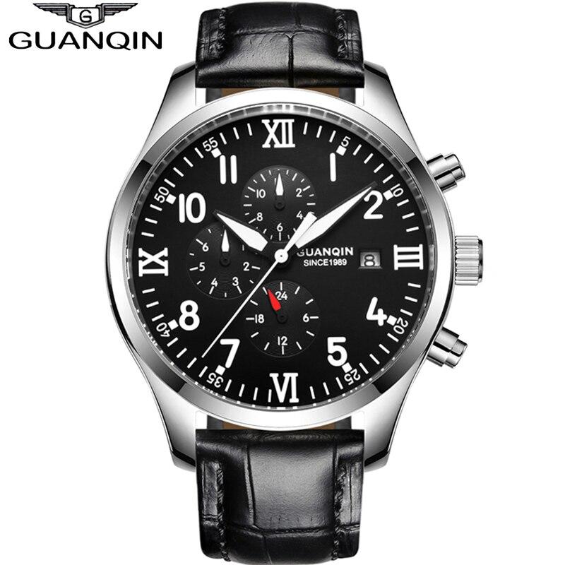 GUANQIN orologio Automatico degli uomini Meccanici di Orologi Top Brand di Lusso Impermeabile data di Calendario Orologio Da Polso In Pelle Relogio Masculino