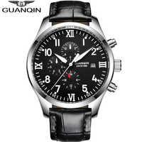 Reloj GUANQIN automático mecánico de los hombres de la marca superior de lujo impermeable fecha Calendario de cuero reloj de pulsera reloj Masculino