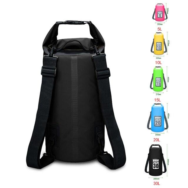 Mochila impermeable de PVC, bolsas a prueba de agua con capacidad 5l/10l/15l/20l/30l, para uso deportivo en natación y rafting