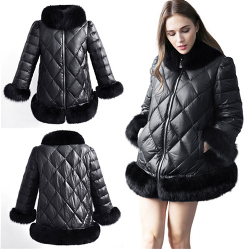 fashion style anti-shrink warm parka winter coat women faux fur coats PU leather jacket