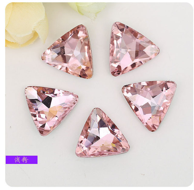 HOT SALE ! pink trianglar Pointed bottom glass crystal rhinestones DIY  Watch and headpiece jewelry accessories 20pcs pack afa2ee99e5b2